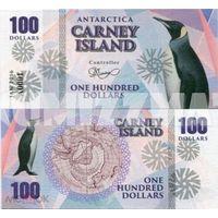 Остров Карней 100 долларов 2016 год   UNC. фентези.  распродажа