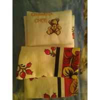 Постельное белье для кукольной кроватки с вышивкой