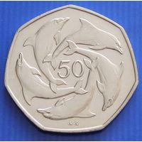 """Гибралтар. 50 пенсов 1997 год KM#39.1  """"Дельфины"""""""
