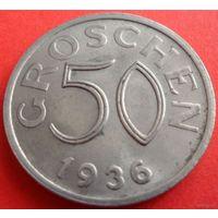 Австрия 50 грошей 1936 г. KM# 2854. Редкий год! Состояние!