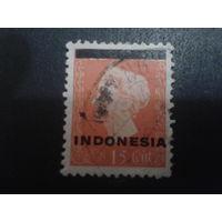 Индонезия 1948 колония Нидерландов королева Вильгельмина, надпечатка