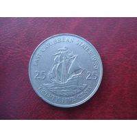 25 центов 1989 год Восточные Карибы