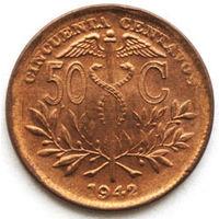 Боливия 50 сентавос 1942 год (случайная монета)