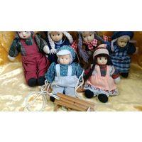 Куклы фарфоровые, винтажные куколки с фарфоровыми лицами, мягконабивные