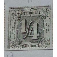 Почтовая марка из выпуска Турн-и-Таксис для северогерманских государств ( 1/4  зильбергроша, 1865 г. )