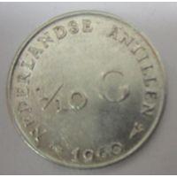 Нидерланды. 1\10 гульдена 1960. Серебро  .121