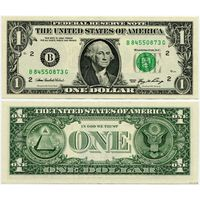 США. 1 доллар (образца 2006 года, B, Нью-Йорк, P523, XF)