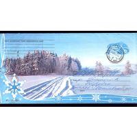 2005 год Зимняя дорога и лес 696