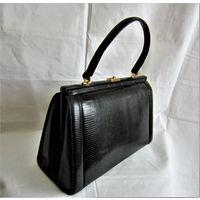 Распродажа коллекции сумок. Шикарная, раритетная большая дамская сумка из нат.кожи ящерицы(Eidechse).Очень красивая форма. Стиль Шанель. Ручная работа 1950 -1960 годов. Франция.