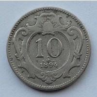 Австрия 10 геллеров. 1894