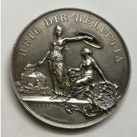 Медаль стрелкового фестиваля Швейцария Фрибург 1890 г серебро 40гр