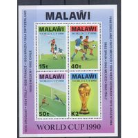 [1850] Малави 1990. Спорт.Футбол.Чемпионат мира. БЛОК.