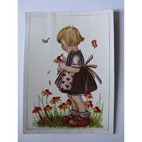 Открытка Германия, Девочка, цветы; подписана.