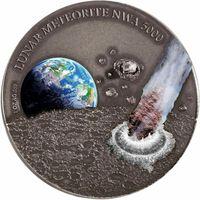 "RARE Ниуэ 1 доллар 2015г. ""Лунный метеорит NWA 5000"". Монета в капсуле; подарочном футляре; номерной сертификат; коробка. СЕРЕБРО 31,10гр.(1 oz)."