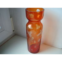 Роскошный цветной хрусталь: хрустальная ваза с цветочным рисунком. Винтаж!