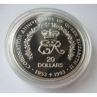 """Ниуэ 20 долларов 1993 """"40-летие коронации Елизаветы II (2 июня 1953 года)"""