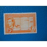 Каймановы о-ва. 1938 г. Мi-107. Георг VI. Карта.