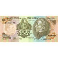 Уругвай 100 песо образца 1987 года UNC p62A