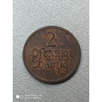 2 пфеннига 1926 года. Данциг. (Гданьск). Отличная монета!!!