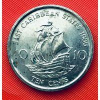 14-30 Восточные Карибы, 10 центов 1986 г.