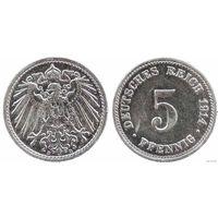 YS: Германия, Рейх, 5 пфеннигов 1914D, KM# 11 (2)