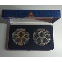 550 лет обретения чудотворной Жировичской иконы Божией Матери, футляр на две монеты синий кожзаменитель черный ложемент