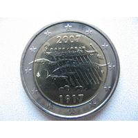 Финляндия 2 евро 2007г. 90 лет независимости Финляндии. (юбилейная) UNC!