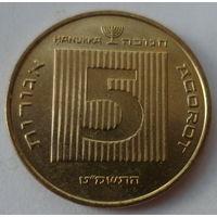 "Израиль 5 агорот 1985 ""Древняя монета"" (Ханука сверху над номиналом) KM# 172"