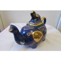 Заварник Слон со слоненком фарфор керамика синий с позолотой декор интерьера сувенир подарок Коллекция