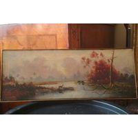 Картина 19 или нач. 20 в., Российская империя, масло/полотно, сигнатура автора на польском 22*58 см.