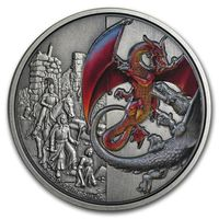 """Ниуэ 5 долларов 2019г. """"Красный Дракон"""". Монета в капсуле; подарочном футляре - книге; сертификат; коробка. СЕРЕБРО 62,27гр.(2 oz)."""