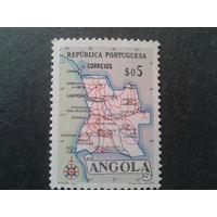 Ангола, колония Португалии 1955 карта страны