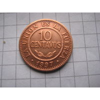БОЛИВИЯ 10 СЕНТАВО  1997 ГОД