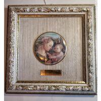 Картина старинная живопись на фарфоре .Лимож Франция.