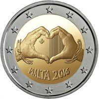 Мальта 2 евро 2016 г.  Любовь . UNC из ролла