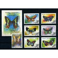 Мадагаскар 1992г. бабочки. 7м. 1 блок.