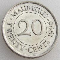 Маврикий, 20 центов 1996 года, KM#53, Сэр Сивусагур Рамгулам, никелированная сталь