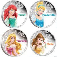 Монеты 2 доллара Принцесса Аврора и другие герои Диснея (Princess Aurora Disney) Proof в капсуле 10 видов!