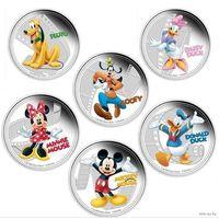 Монеты 2 доллара   герои Диснея (  Disney) Proof в капсуле 9 видов!ПРИНЦЕССЫ Ариэль НЕТ!