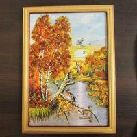 Картина с натуральным янтарём  23 х 32 см в деревянной рамке