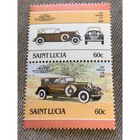 Сент-Люсия. Автомобили мира. Lincoln K.B. 1932. Марка из серии