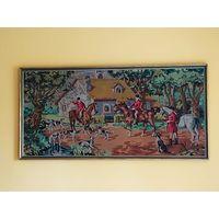 """Антикварный французский гобелен в деревянной раме:"""" Сбор на охоту"""".Margot de Paris. 1900-1920 годы."""