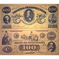 100$ 1862г состаренные копии
