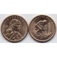 США, 1 доллар 2009 года, D. Коренные американцы. Посадка культур.