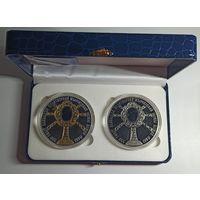 550 лет обретения чудотворной Жировичской иконы Божией Матери, футляр на две монеты синий кожзаменитель белый ложемент