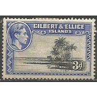 Гилберт и Эллис. Король Георг VI. Пальмовый остров. 1939г. Mi#43.
