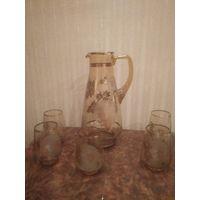 Кувшин 2,5 литра и стаканы Чехия Богемия цветное стекло идеал