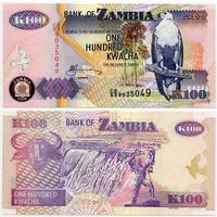 Замбия. 100 квача (образца 2008 года, P38g, UNC)