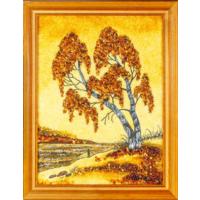 Картина из натурального янтаря  в деревянной раме