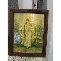 Старая католическая икона в деревянной раме. Св. Магдолина. Литография под стеклом. 48,5*38*2,5 см.